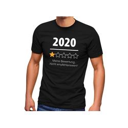 MoonWorks Print-Shirt Herren T-Shirt 2020 nicht empfehlenswert! meine Bewertung 1 Stern Fun-Shirt Spruch lustig Moonworks® mit Print XS
