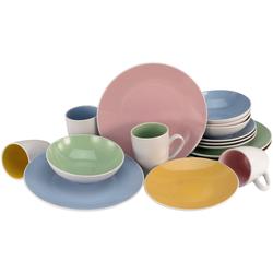 CreaTable Kombiservice Nice Cream, (Set, 16 tlg.), Pastellfarben bunt Geschirr-Sets Geschirr, Porzellan Tischaccessoires Haushaltswaren
