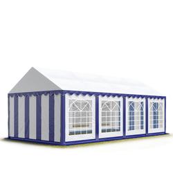 Toolport Partyzelt 4x8m PVC 500 g/m² blau wasserdicht Gartenzelt, Festzelt, Pavillon