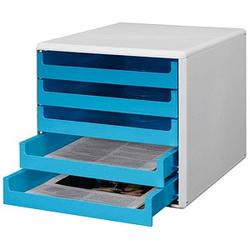 M&M Schubladenbox   ocean-blue DIN A4 mit 5 Schubladen