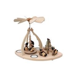 SIGRO Weihnachtspyramide Holz Teelicht-Tischpyramide Schneemannfiguren