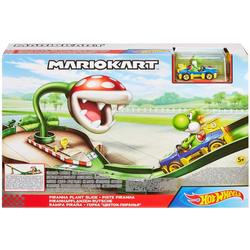 Hot Wheels Spiel-Gebäude Mario Kart Piranha-Pflanzen-Trackset, inkl. 1 Spielzeugauto