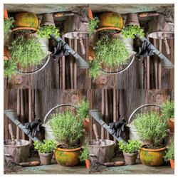 Linoows Papierserviette 20 Servietten Küchenkräuter im Retro Garten Ambien, Motiv Küchenkräuter, Kräuter im Retro Garten Ambiente bunt
