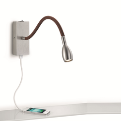 21.840 LED Wandleuchte - mattnickel / braun stoffummantelt