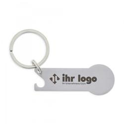 Schlüsselanhänger mit Einkaufschip & Flaschenöffner (Gravurmaß 40x15