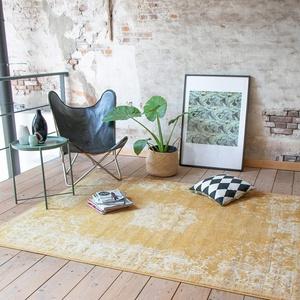 FRAAI Teppich Vintage - Wonder Gelb - 160x220cm - Kurzflor - Antik, Vintage - Klassik, Orientalisch - Wohnzimmer, Esszimmer, Schlafzimmer