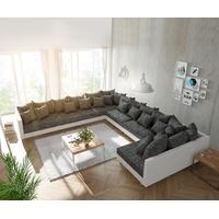 DeLife Couch Clovis XXL Wohnlandschaft modular Design Sofa weiß