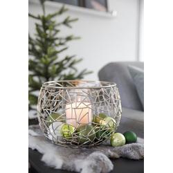 EDZARD Windlicht Milano, Kerzenhalter aus Messing mit Glaseinsatz, Kerzenleuchter für Stumpenkerzen, Höhe 19 cm, Ø 27 cm