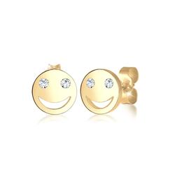 Ohrringe Smiley Face Emoji Kristalle 925 Silber Elli Gold