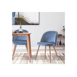 Merax Esszimmerstuhl Sicilia (2 Stück), 2er Set Küchenstuhl Polsterstuhl Samt Stuhl mit Rücklehne blau