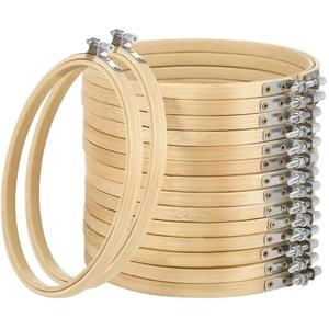 Hodeacc 16 Pack 9 Zoll Mini Bambus Kreis, Stickrahmen Kreuzstich Hoop Ring für DIY Kunsthandwerk Handliches Nähen