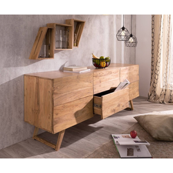 DELIFE Sideboard Wyatt, Akazie Natur 177 cm mit 2 Türen 2 Schübe Design Sideboard natur 177 cm x 70 cm x 45 cm