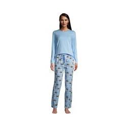 Gemustertes Jersey Pyjama-Set in Petite-Größe, Damen, Größe: M Petite, Blau, by Lands' End, Kristallblau Faultier - M - Kristallblau Faultier