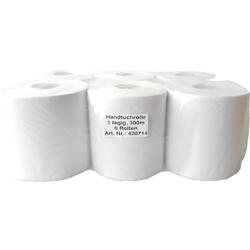 Rollenhandtuchpapier Midi, 1-lagig, Papierbreite: 20 cm, ca. 72 % weiß, 1 Paket = 6 Rollen à ca. 300 Meter