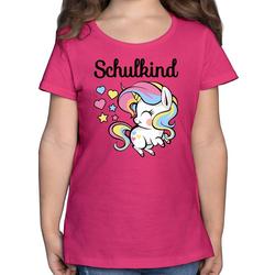 Shirtracer T-Shirt Schulkind mit Einhorn - Einschulung und Schulanfang - Mädchen Kinder T-Shirt - T-Shirts einhorn einschulung 140 (9/11 Jahre)