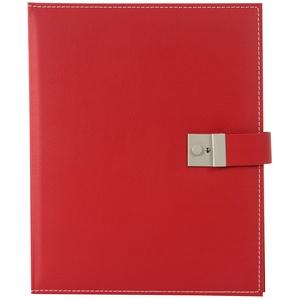 goldbuch 53817 Dokumentenmappe Cezanne für DIN A4 Unterlagen, Ringbuchmappe inklusive 5 Sichthüllen, erweiterbare Ordnungsmappe mit Schloss, Orgamappe aus Kunstleder, ca. 27,5 x 34 cm, Rot