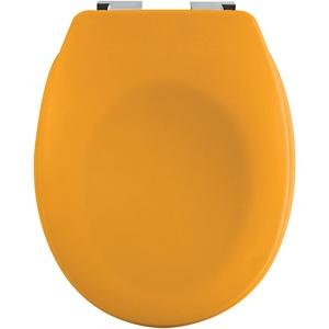 spirella Premium Toilettendeckel oval Klodeckel mit matten Finish und Softclose Absenkautomatik. Antibakterielle Klobrille aus Duroplast und rostfreiem Edelstahl - Gelb