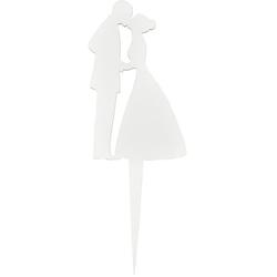 MEYCO Hobby Dekoobjekt Tortenfigur Brautpaar, Weiß 18 cm x 6,6 cm