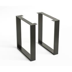 DELIFE Tafelframe metaal zwart smal (2-er Set), Tafels