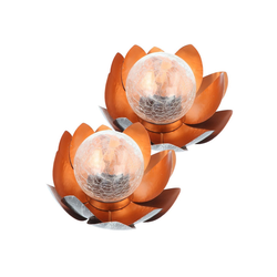 EZ SOLAR LED Gartenleuchte Bezauberndes Solar Lotusblüten Duett, Lotusblume S