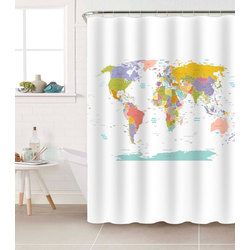 Sanilo Duschvorhang Weltkarte Breite 180 cm, Höhe 200 cm