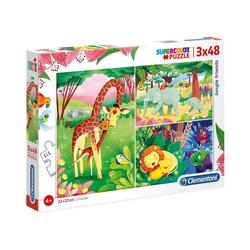 Clementoni® Puzzle Puzzle 3x48 Teile - Jungle Friends, Puzzleteile