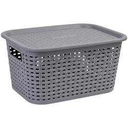 axentia Aufbewahrungskorb Korb aus Kunststoff, klein, mit Deckel grau