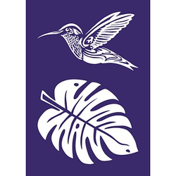 Rayher Siebdruckschablone Kolibri blau