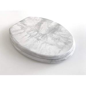 WC Sitz Klobrille Marmor weiss, Edelstahlscharniere