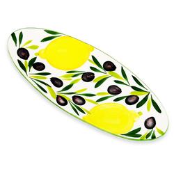 Lashuma Servierteller Zitrone Olive, Keramik, Große Servierplatte, Dessertplatte 39x16 cm