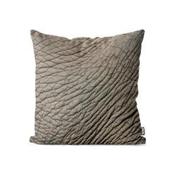 Kissenbezug, VOID (1 Stück), Elefant Elefantenhaut-Druck Kissenbezug Tier-Muster Elefanten-Herde Zoo Savanne 50 cm x 50 cm