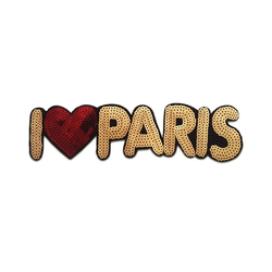 Catch the Patch Aufnäher, Kunststoff, XL I love Paris mit Pailletten - Aufnäher, Applikationen, Patches, Flicken, zum aufnähen, Größe: 25,5 x 6,5 cm