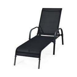 COSTWAY Gartenstuhl Sonnenliege Liegestuhl Gartenliege Relaxliege mit 5 einstellbaren Rücklehnpositionen, wetterfest für die Terrasse, Garten und am Pool