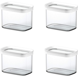 Emsa 513557 OPTIMA Trockenvorratsdose, 1 Liter, 16 x 9,9 x 11,9 cm, transparent/weiß (4er Pack