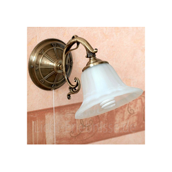 Licht-Erlebnisse Wandleuchte ORCHIDEA Wandlampe Jugendstil Metall Bronze Alabasterlas Leselampe Lampe