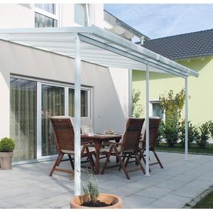 Gutta Terrassendachsystem Terrassenüberdachung Terrasse Überdachung Alu weiß 3x3 4,2x3 5,4x3 m (3 x 3 m (9m2))