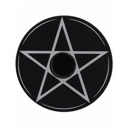 Horror-Shop Dekofigur Schwarzer Kerzenhalter mit Pentagramm Motiv