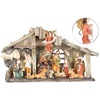 PEARL Weihnachtskrippe aus Polyresin mit 11 handbemalten Figuren