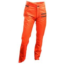 Lederhose - Designer Lederhose ECHT-Leder orange