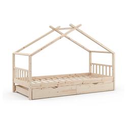 VitaliSpa® Kinderbett DESIGN HausbettGästebett LattenrostNatur 90x200 Schublade
