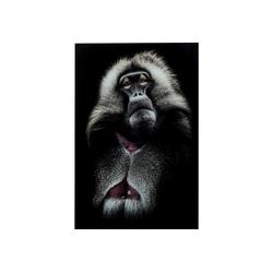 KARE Dekoobjekt Bild Glas Grandfather Baboon 120x80