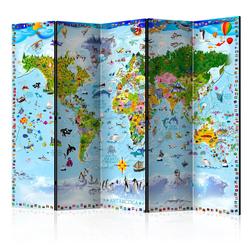 Parawan 5-częściowy - Mapa świata dla dzieci