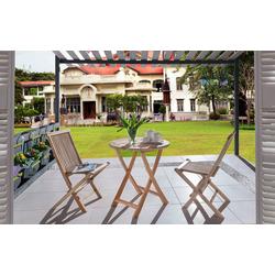 Junado® Balkonset Rondo, Gartenset Teakholz klappbar mit rundem Tisch 80cm