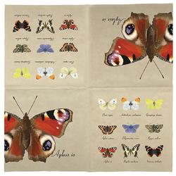 Linoows Papierserviette 20 Servietten, Schmetterling Motive, Schmetterling, Motiv Schmetterling Motive, Schmetterlingssammlung bunt