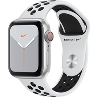 Apple Watch Series 5 Nike GPS + Cellular 40 mm Aluminiumgehäuse silber, Nike Sportarmband pure platinum/schwarz