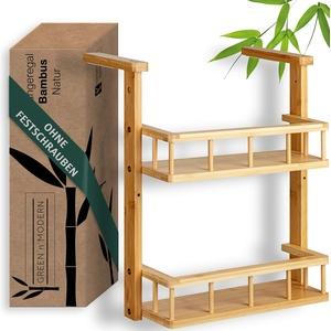 Green'n'Modern Hängeregal für Kühlschrank   Kühlschrankregal Gewürzregal hängend aus Holz Bambus   Küchenregal kompakt für Studenten   Robuster Platzgewinn schnell montiert am Küchenschrank
