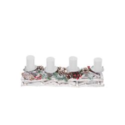 MCW Adventskranz T867, Mit 4 Kerzenhaltern, Aufwendig geschmückt weiß