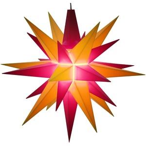 A1e, rot/gelb, Weihnachtsstern Herrnhut für Innen, Kunststoff, 13 cm, rot/gelb, Adventsstern, Stern, Sterne, Advent, Weihnachten, original Herrnhuter Stern