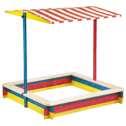 Pinolino Sandkasten Lukas, 120x120 cm, mit Dach bunt Kinder Sandkiste Sandspielzeug Outdoor-Spielzeug