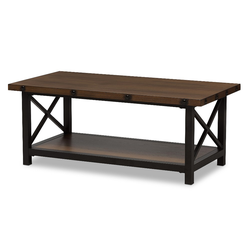 Herzen Rustic Industrial Style Antique Textured Finished Metal Distressed Wood Occasional Cocktail Coffee Table - Brown - Baxton Studio